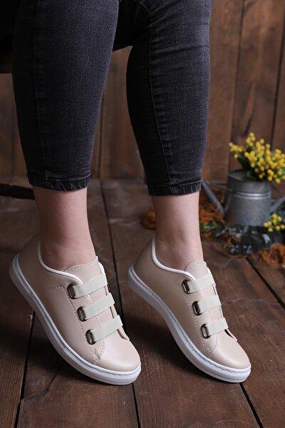 Kadın Krem Lastikli Casual Günlük Ayakkabı