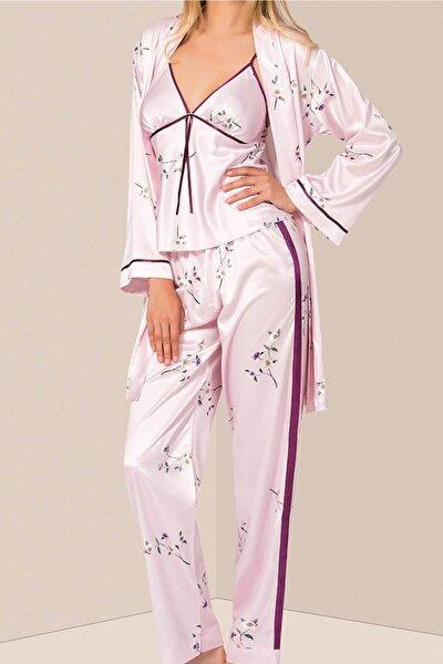 Kadın Pudra 3'lü Saten Sabahlıklı Pijama Takım 017