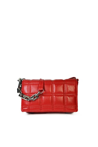 Kırmızı Kare Nakışlı Plastik Zincirli Askılı El Ve Omuz Çantası Gc003402