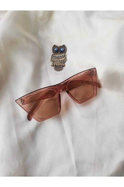 Kadın Açık Kahve Bal Rengi Köşeli Cat Eye Güneş Gözlüğü