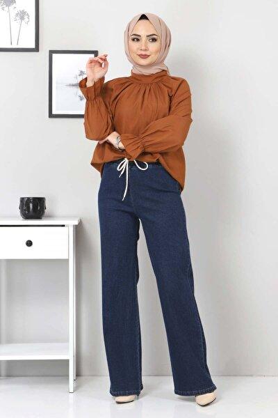 Kadın Koyu Mavi Beli Lastikli Bol Paça Kot Pantolon