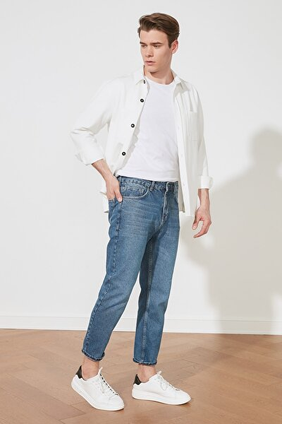 Açık Lacivert Erkek Slim Fit Cropped Jeans TMNSS21JE0053