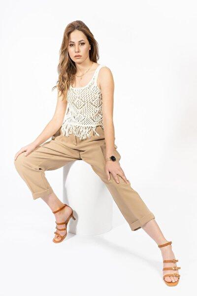 Kadın Kahverengi Hakiki Deri Topuklu Sandalet