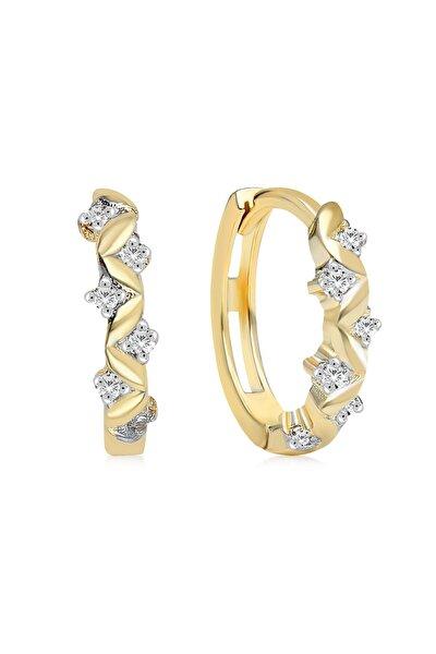 Gelin Diamond 14 Ayar Altın Sarmaşık Taşlı Halka Küpe 1.2 cm