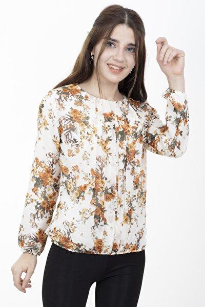 Kadın Krem Çiçek Desenli Yaka Detaylı Şifon Bluz