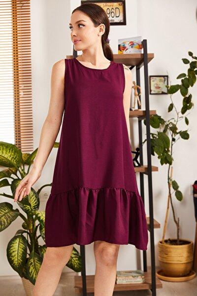 Kadın Mürdüm Kolsuz Eteği Fırfırlı Elbise ARM-18Y001156