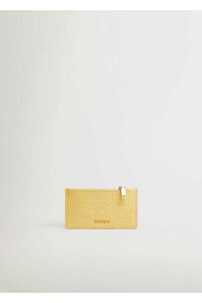 Kadın Pastel Sarı Timsah Derisi Desenli Kartlık