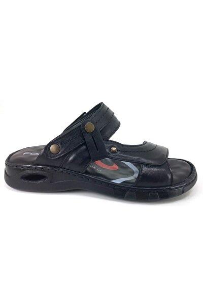 M40507 Hakiki Deri Erkek Anatomik Terlik Sandalet Siyah