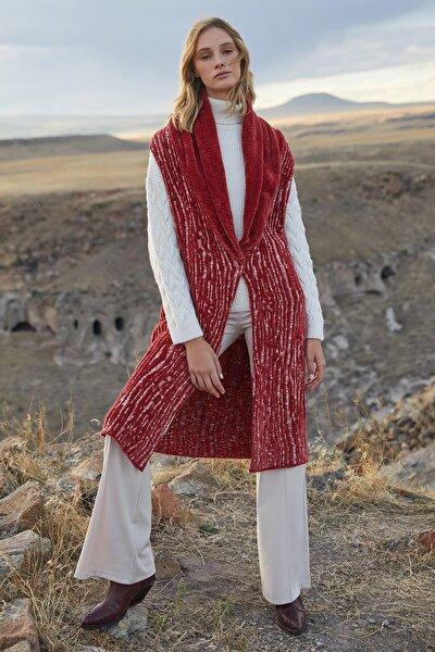 Kadın Kırmızı Desenli Kemerli Çıt Çıtlı Hırka JU8-9W-555