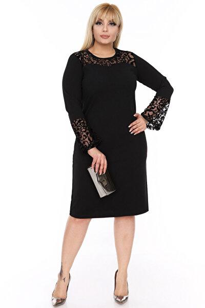 Kadın İspanyol Kol Siyah Elbise 4D-69249 17884