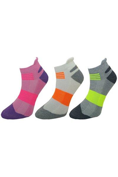 Kadın Renkli Spor Patik Çorap 3 Çift