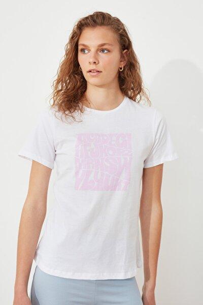 Beyaz Basic Baskılı Örme T-Shirt TWOSS21TS3057