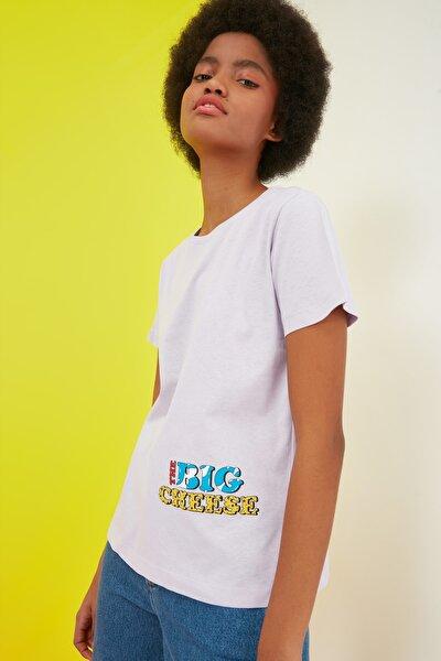 Lila Bisiklet Yaka Basic Baskılı Örme T-Shirt TWOSS21TS2736