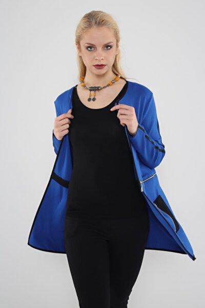 Kadın Mavi  Kontrast Biyeli Beli Fermuar Detaylı Ceket Hn502