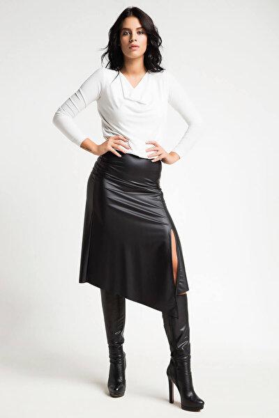 Kadın Siyah Deri Etek 14L4107