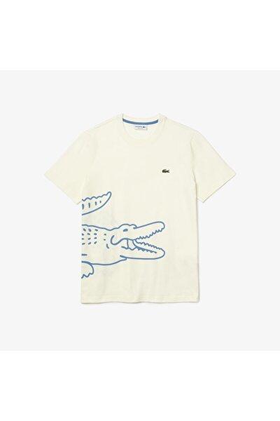 Erkek Regular Fit Bisiklet Yaka Baskılı Beyaz T-Shirt TH0458