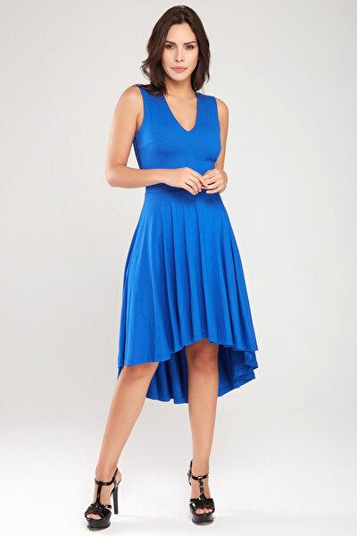 Kadın Saks Asimetrik Kesim Elbise 18L6215