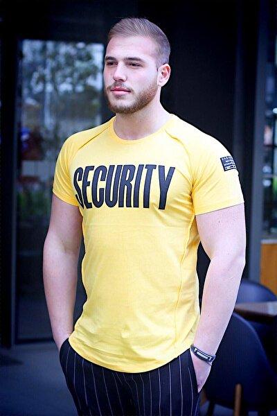 Erkek Sarı Baskılı T-Shirt - 2880