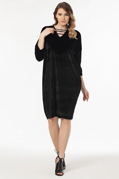 Kadın Siyah Yaka Biye Detaylı Şalvar Kesim Elbise 19LB9140