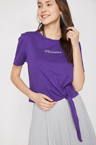 Kadın Mor Yazili Baskili T-Shirt