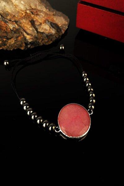 Kadın Pembe Kuvars Taşı Gümüş Kaplama Bileklik KRB292