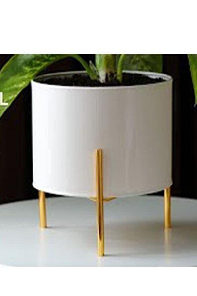 Modern Metal Ayaklı Beyaz Dekoratif Saksı Vazo