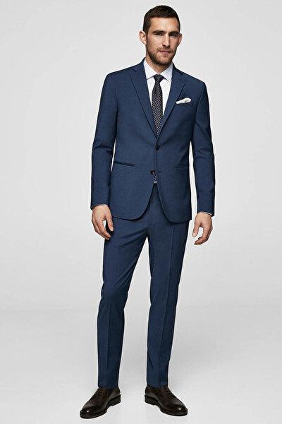 Erkek Mavi Dar Kesim Yün Pantolon 23053629