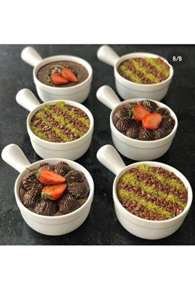6 Adet Porselen Saplı Model Fırında Kullanılabilen Çok Amaçlı Çorba Tatlı Kahvaltılık Kase