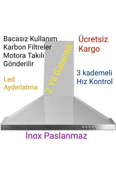 Bacasız Borusuz Inox Piramit Davlumbaz 2 Adet Karbon Filtre Dahil