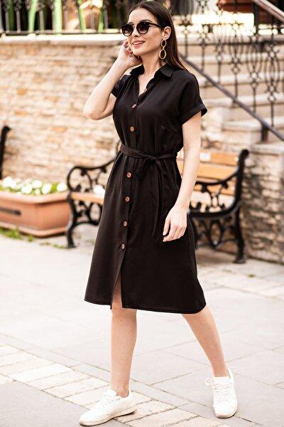 Kadın Siyah Beli Kemerli Kısa Kol Gömlek Elbise ARM-19Y001068