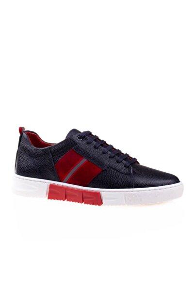 Erkek  Lacivert Kırmızı Hakiki Deri Soft Casual Ayakkabı