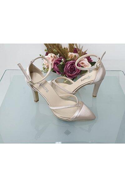 Kadın Ten Saten Sivri Topuklu Stiletto Abiye Ayakkabı Almeras001