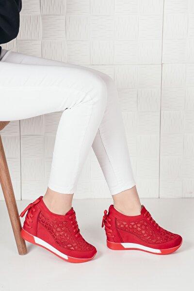 Kadın Kırmızı Süet Bağcıklı Yüksek Taban Gizli Topuk Spor Ayakkabı Ba20250