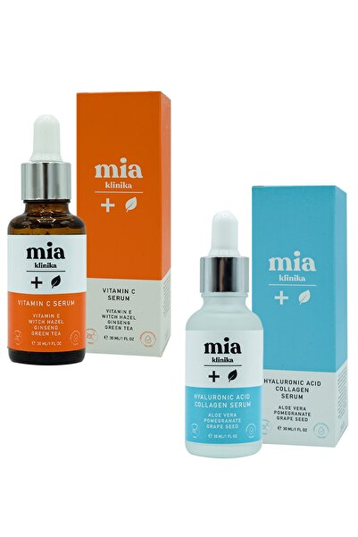 Aydınlatıcı C Vitamini Serum Hyalüronik Asit Ve Kolajen Serum 2'li Set 30 ml