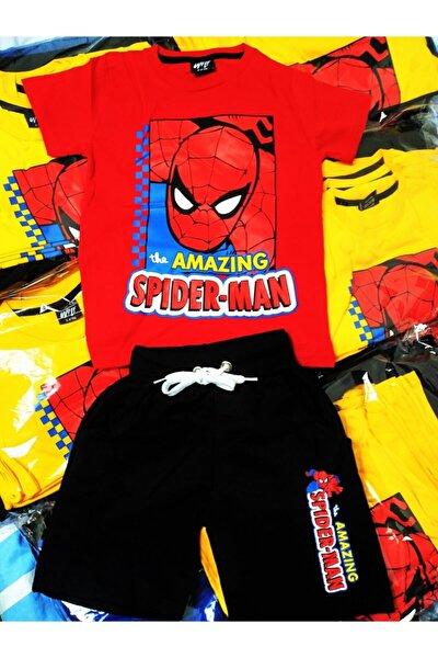 Unisex Çocuk Kırmızı Spiderman Şort Tişört Takım