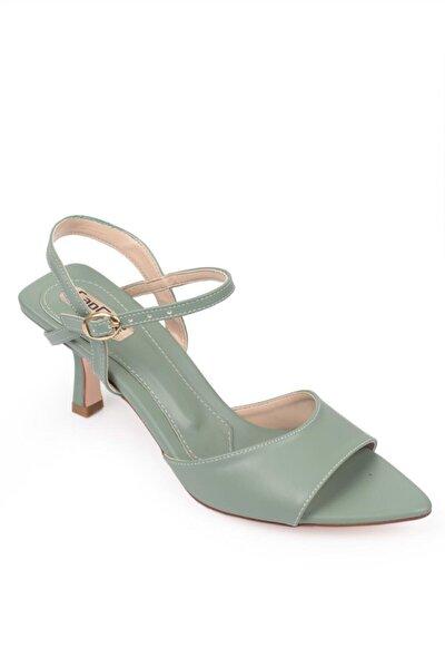 Kadın Mint Yeşili Topuklu Sivri Burun Arkası Bantlı Sandalet