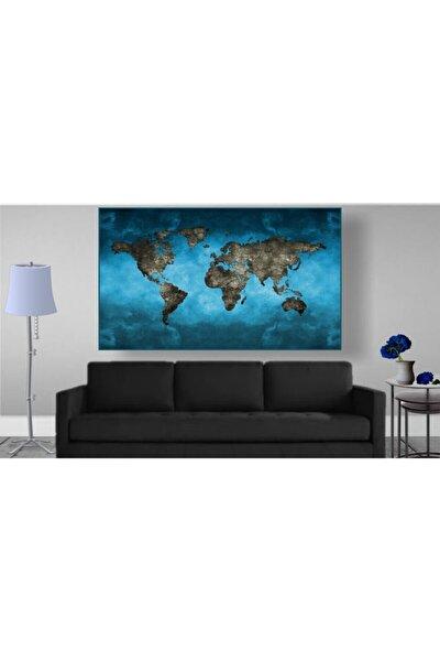Kıtalar Haritası Led Işıklı Kanvas Tablo