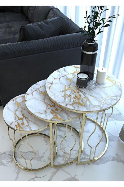 Gusto Model Gold Metal Zigon Sehpa '' Kırılmaz Temperli Cam Beyaz Sarı Damar Mermer ''
