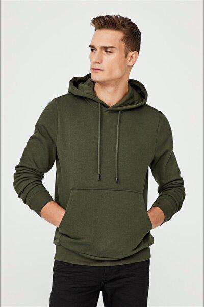 Kapüşonlu Yaka Düz Sweatshirt