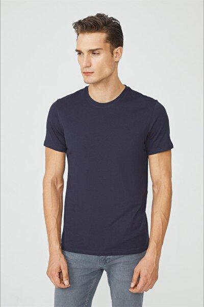 Erkek Lacivert Bisiklet Yaka Düz T-shirt E001000