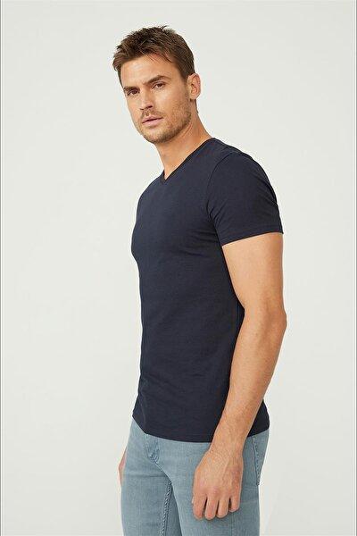 Erkek Lacivert V Yaka Düz T-shirt E001001