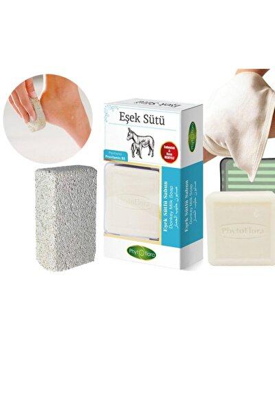 Doğal Eşek Sütlü Sabun 125 Gr (kese + Sabunluk + Topuk Taşı/ponza Taşı)