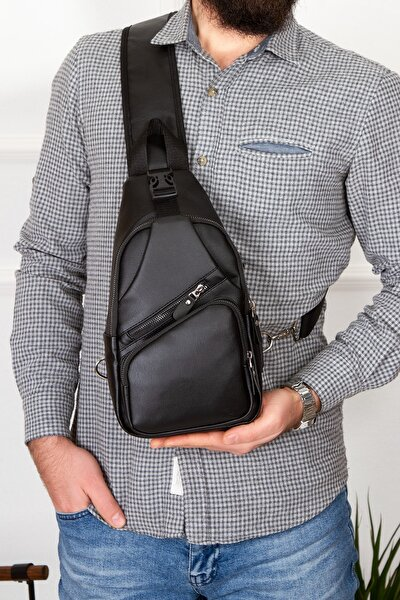 Yıkama Deri Göğüs Çantası Kulaklık Ve Şarj Çıkışlı Tek Kol Çarpraz Bodybag Mini Sırt Çanta