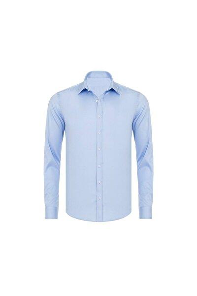 Erkek Mavi Saten Pamuklu Slim Fit Gömlek