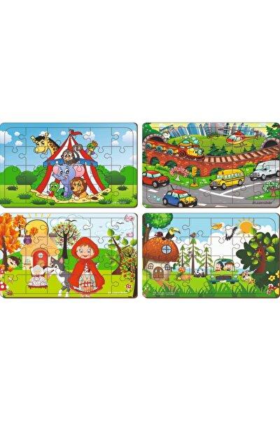 4 Adet 24 Parça Ahşap Puzzle Yapboz Set-7