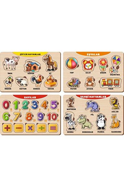 4 Adet Ahşap Bul Tak Eğitici Yapboz Puzzle Seti 11