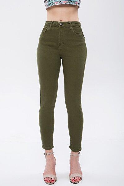 Kadın Yeşil Bilek Boy Yüksek Bel Likralı Jean 4870812