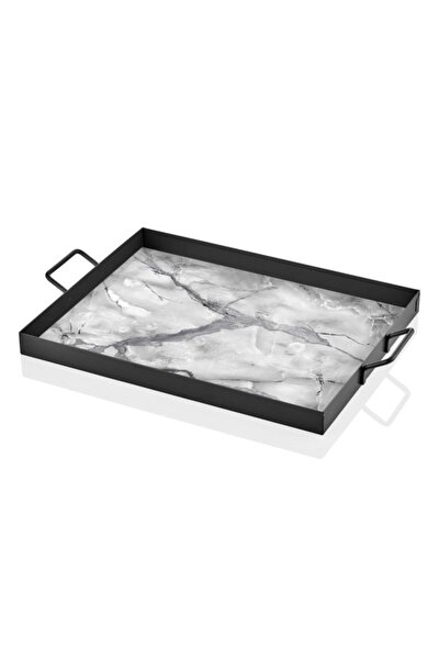 The Mıa Dekor Tepsi Mermer Desen-siyah-beyaz 40x30