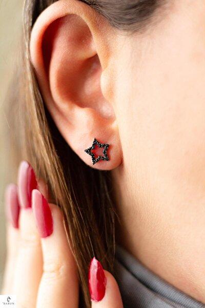 Siyah Taşlı Yıldız Gümüş Küpe-rose