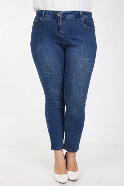 Yüksek Bel Ful Likralı Büyük Beden Jeans Pantolon